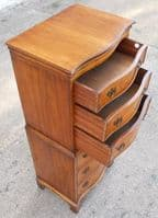 Walnut Shape Fronted Chest on Chest by Reprodux - SOLD